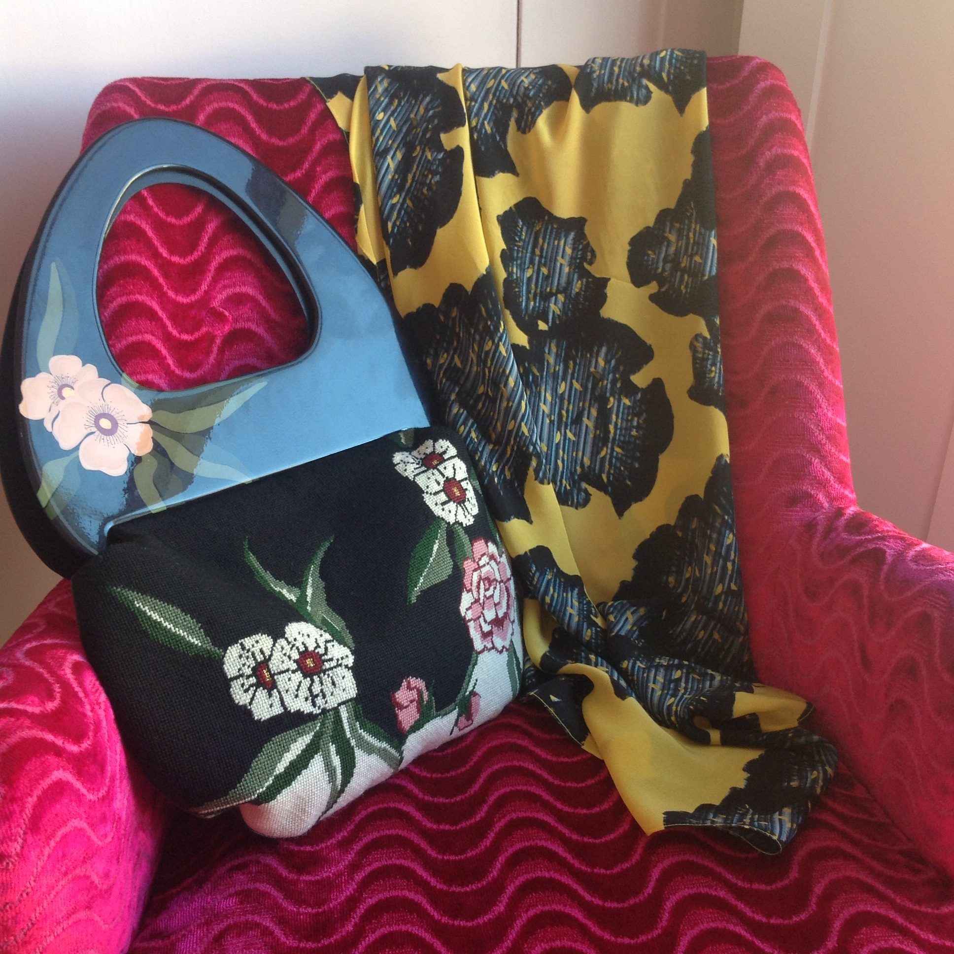 Moon Bag by Patricia Smith and Silk Scarf by designer Ellie Lines