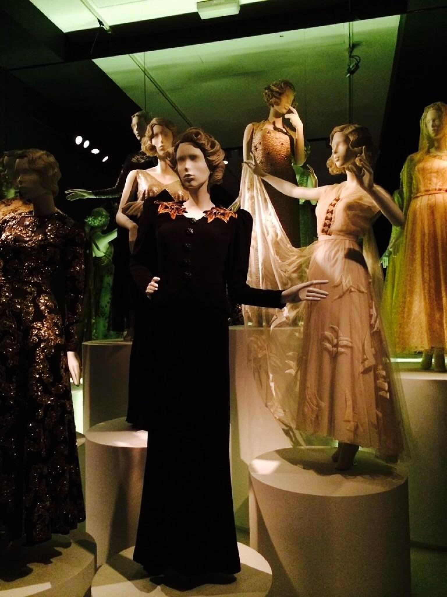 mannequins wearing vintage evening war