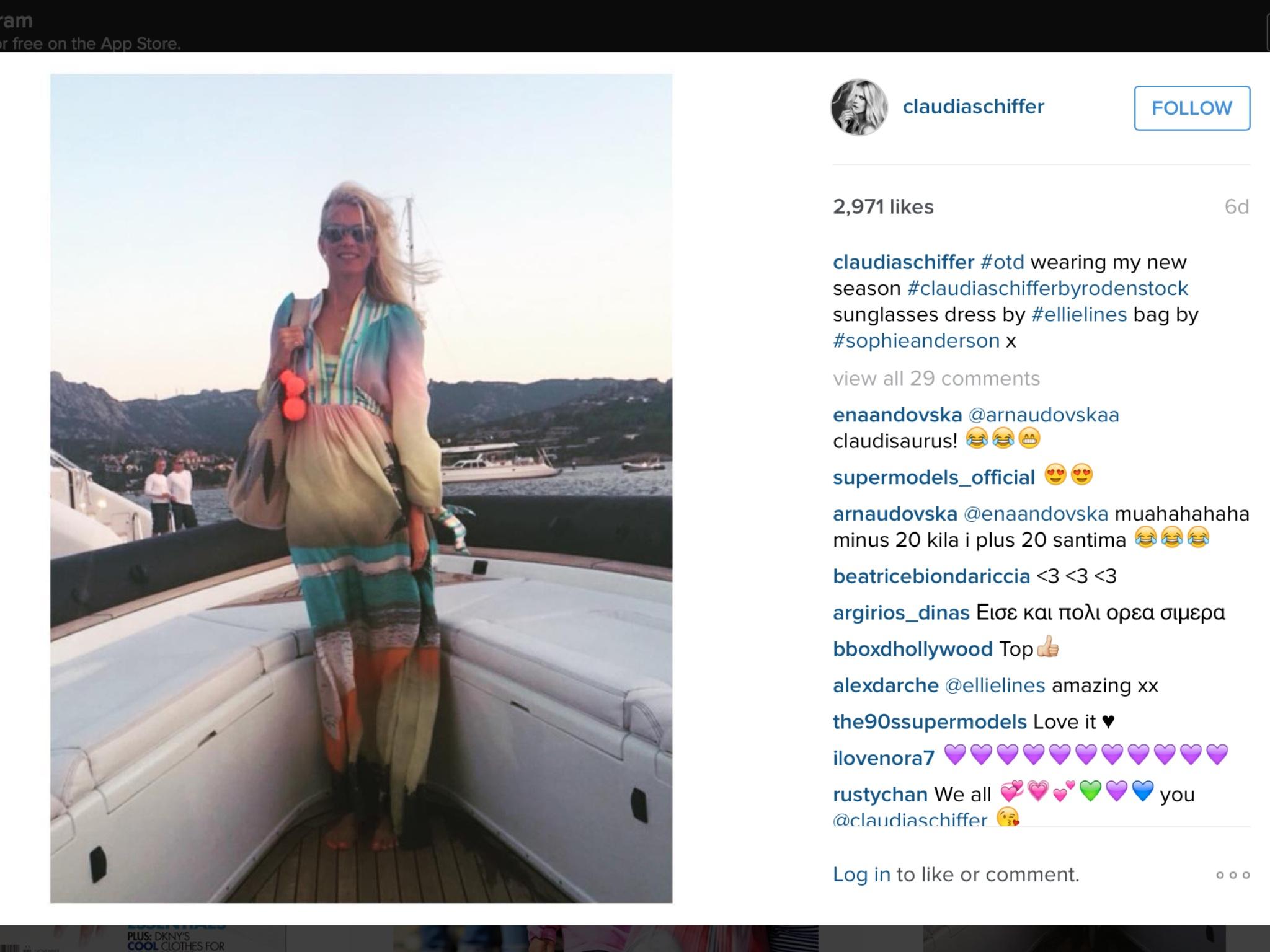 Claudia Schiffer Wearing Ellie Lines silk maxi dress in Instagram Post