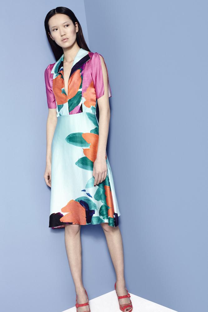 FIONA FLOWER LINES PRINT DRESS