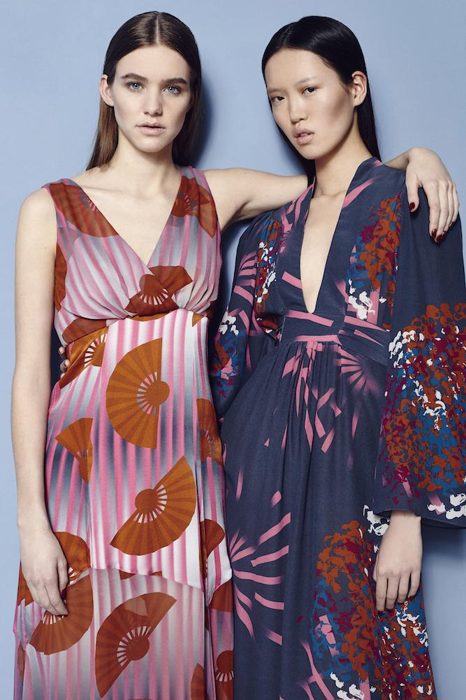 Fashion Stylist Ellie Lines Hydrangea Fantasy Collection Silk Maxi Dresses