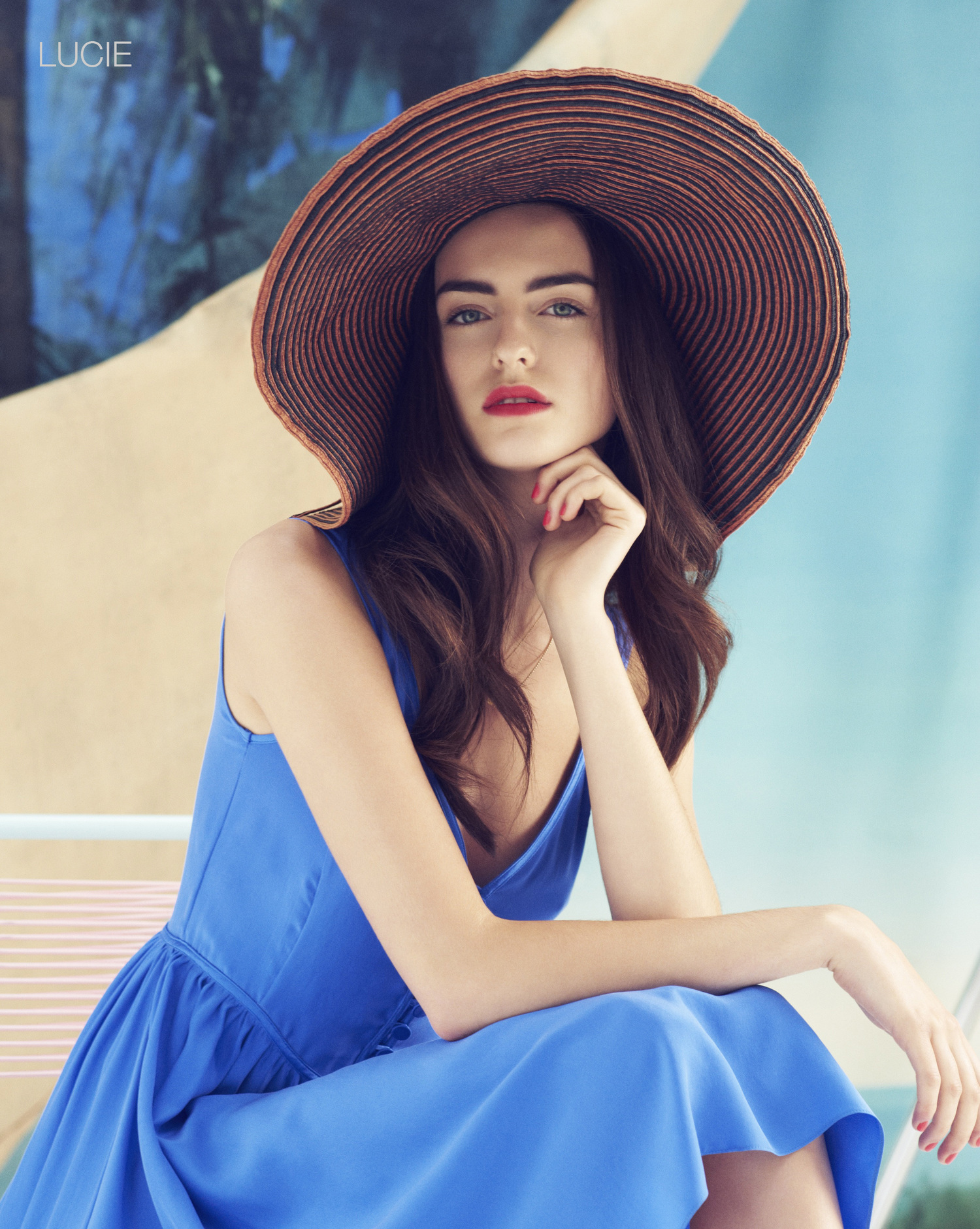 London Stylist Ellie Lines Poolside Collection Lucy Blue Silk Dress