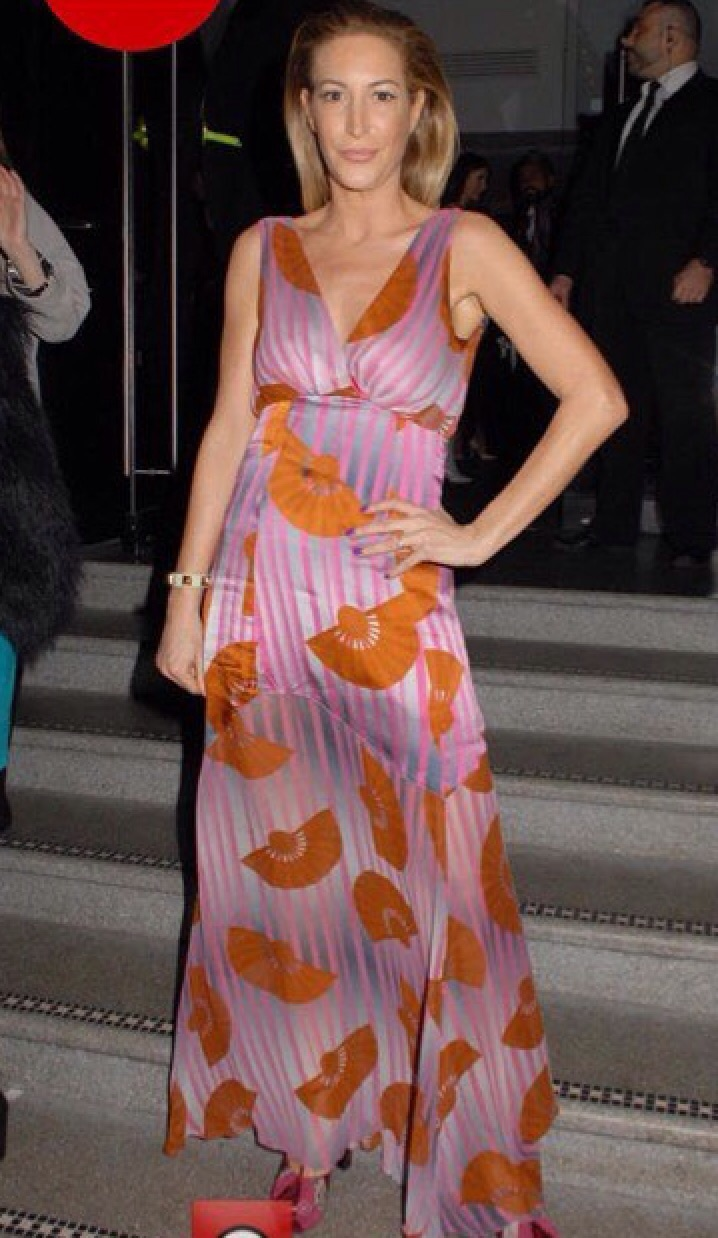 Laura Pradelska in an Ellie Lines Chrissie silk maxi party dress