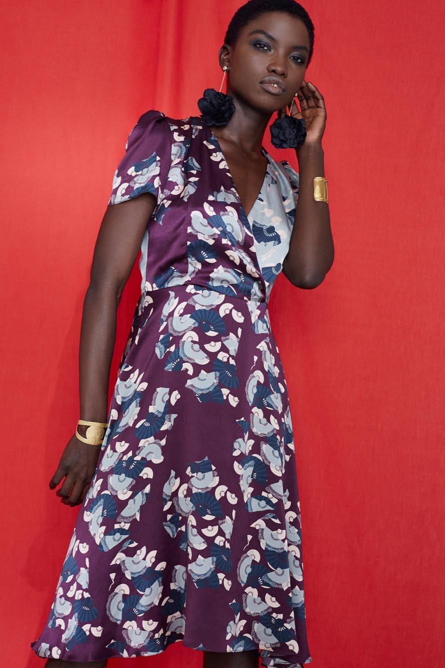 Fashion Designer Ellie Lines Deia Targa Collection - Liz Silk Wrap Dress