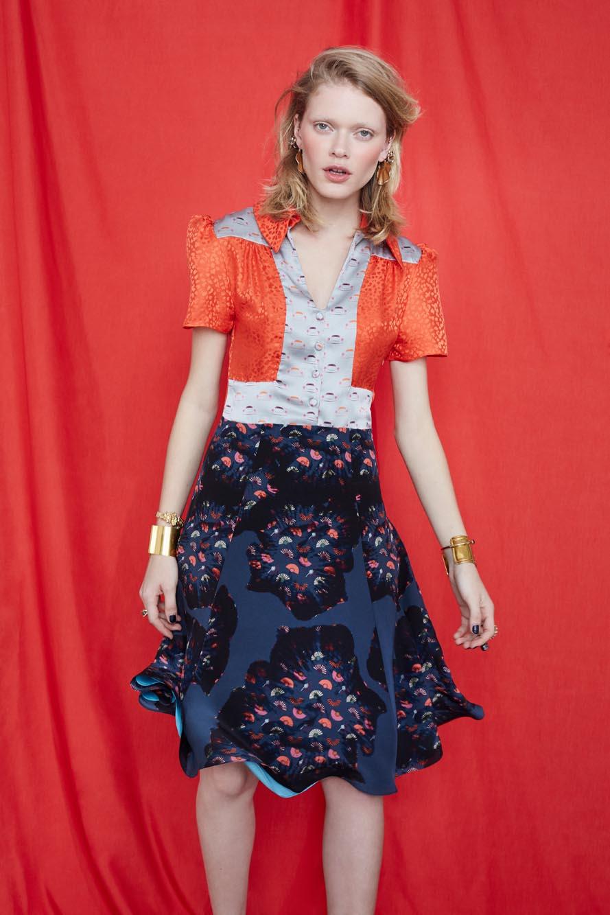Fashion Designer Ellie Lines Deia Targa Collection -  Tess Silk Dress in Moonshine