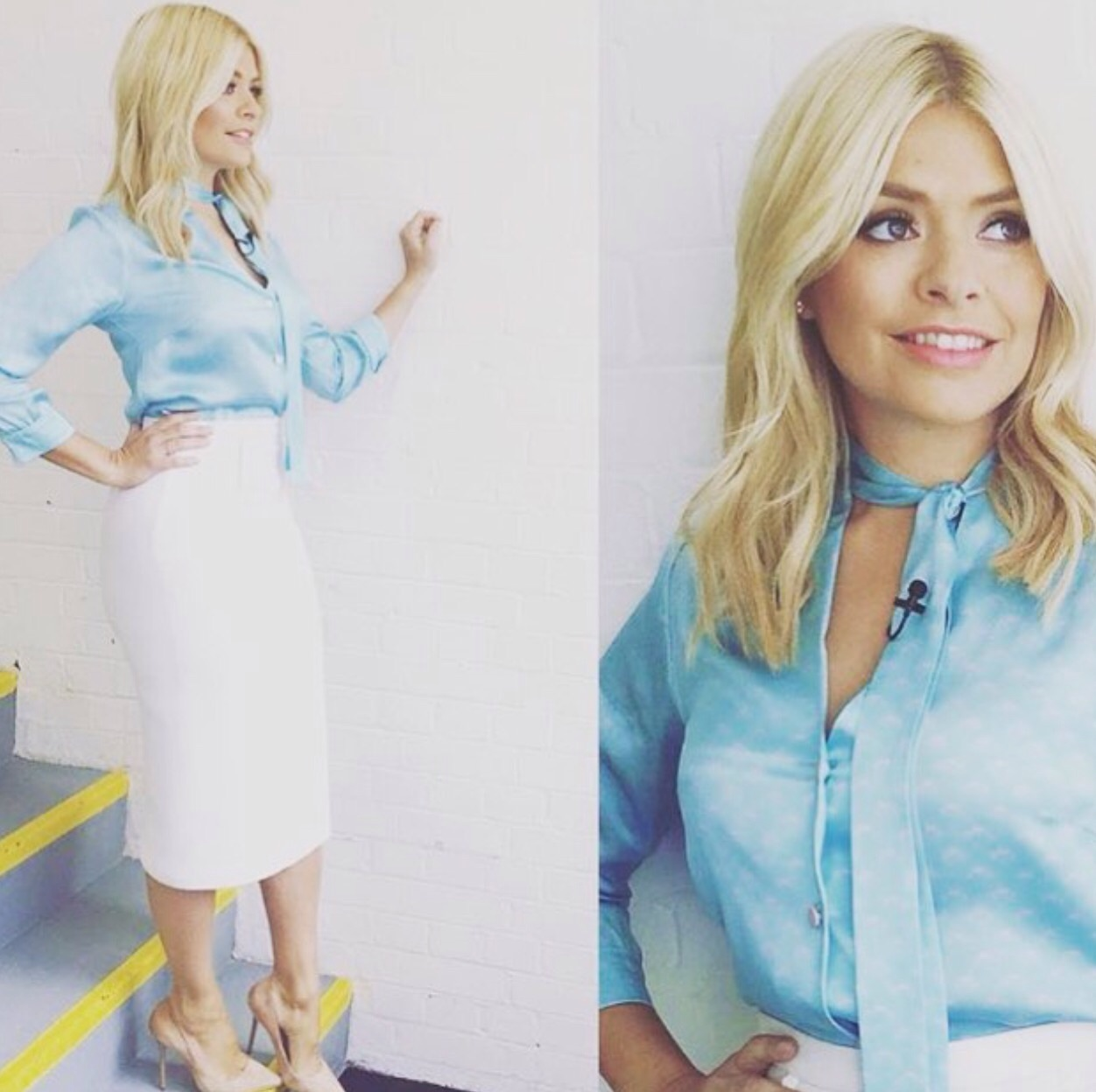 Holly Willoughby wearing a silk blouse from London Fashion Designer Ellie Lines