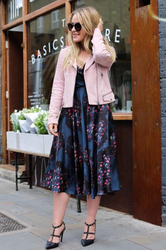 Designer Ellie Lines' silk party dress with pink biker jacket