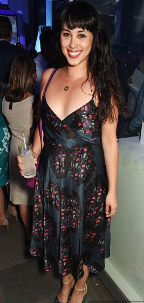 Melissa Hemsley wearing a silk party dress designed by Ellie Lines