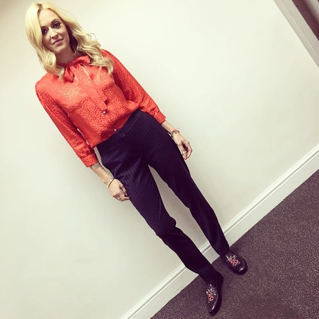 Ferne Cotton wearing an Ellie Lines red silk blouse