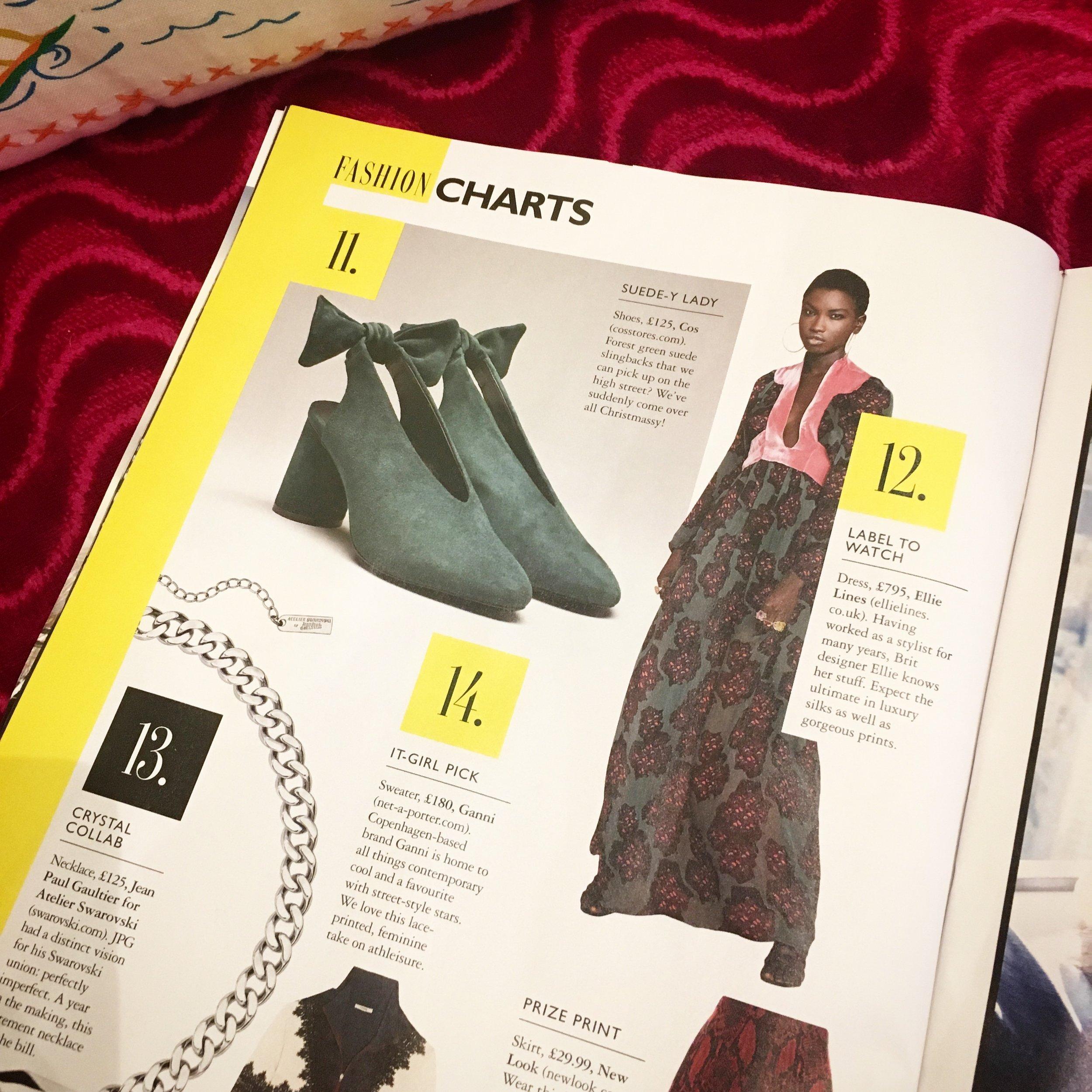 Grazia Magazine Fashion Chart Featuring Ellie Lines