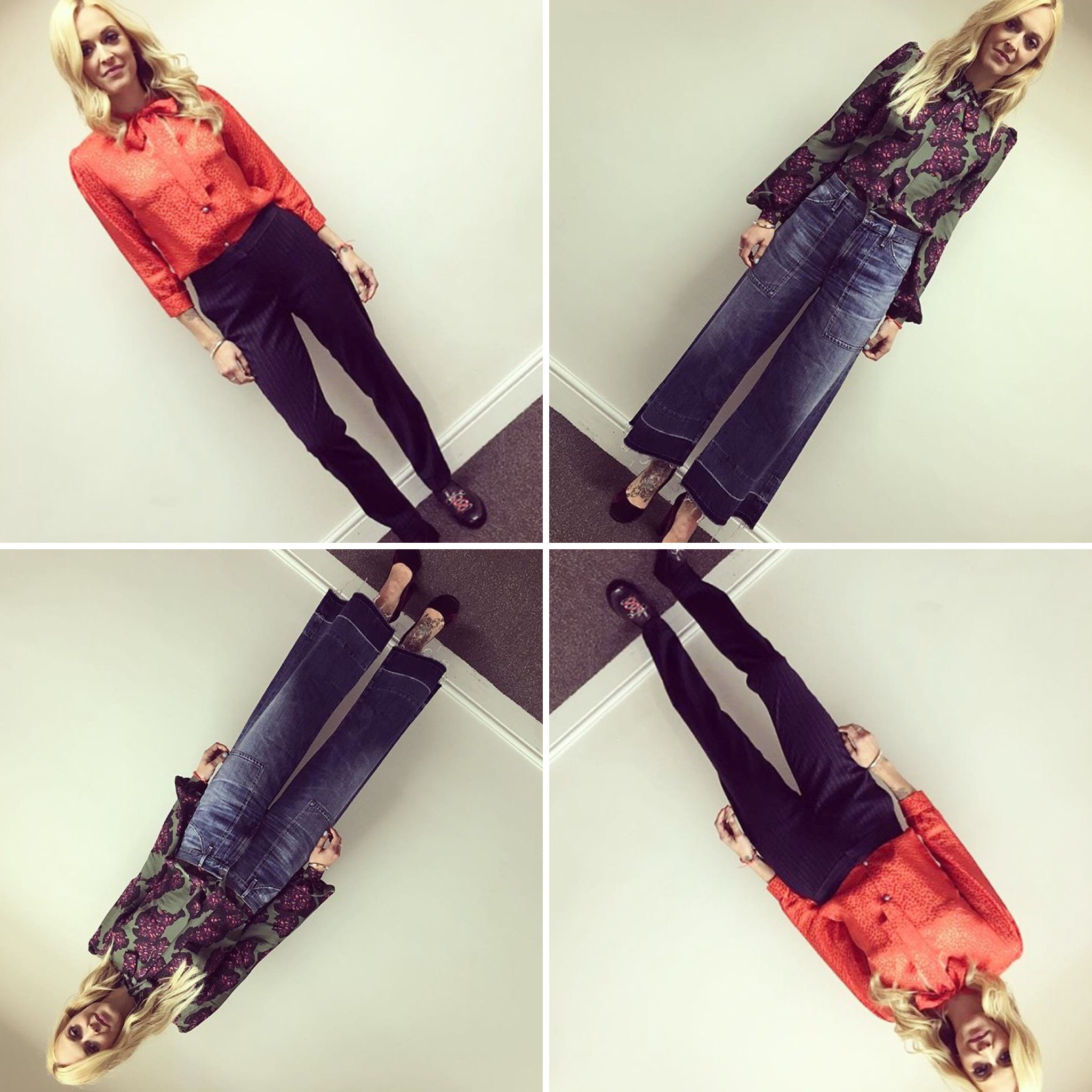 Ferne Cotton wearing luxury fashion designer Ellie Lines' Maddie and Tina silk blouses