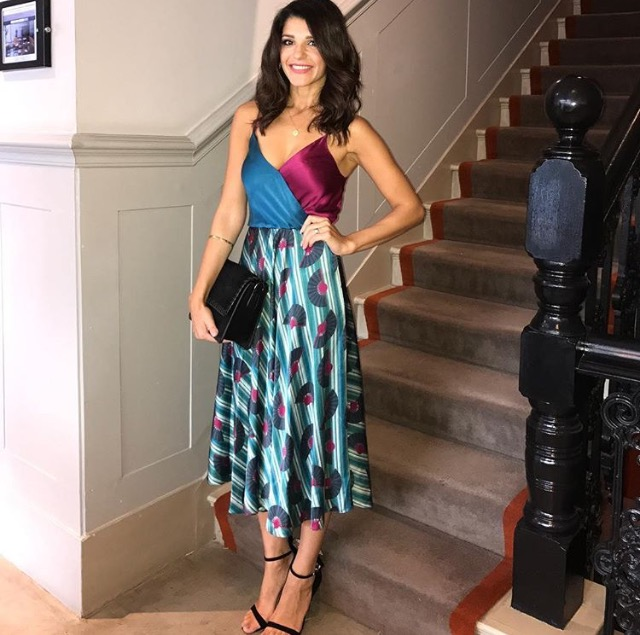 Natalie Anderson in Ellie Lines' Fantasy print Carly party dress