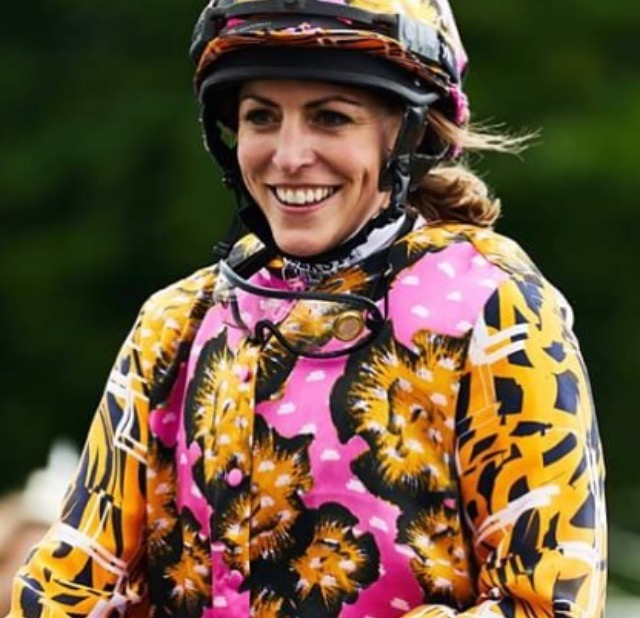 Jockey Aly Vance wearing colours designed by Ellie Lines