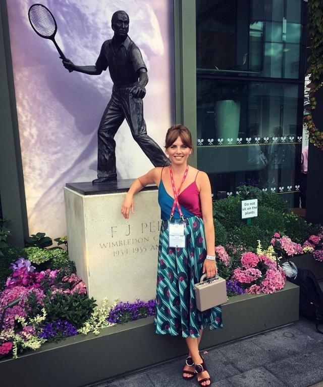 Olivia Lovibond in Luxury Fashion Designer Ellie Lines silk party dress