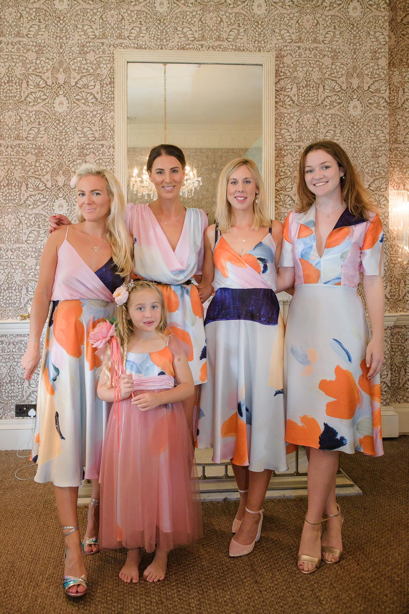 Bridesmaids dressed by Ellie Lines designer silk dresses