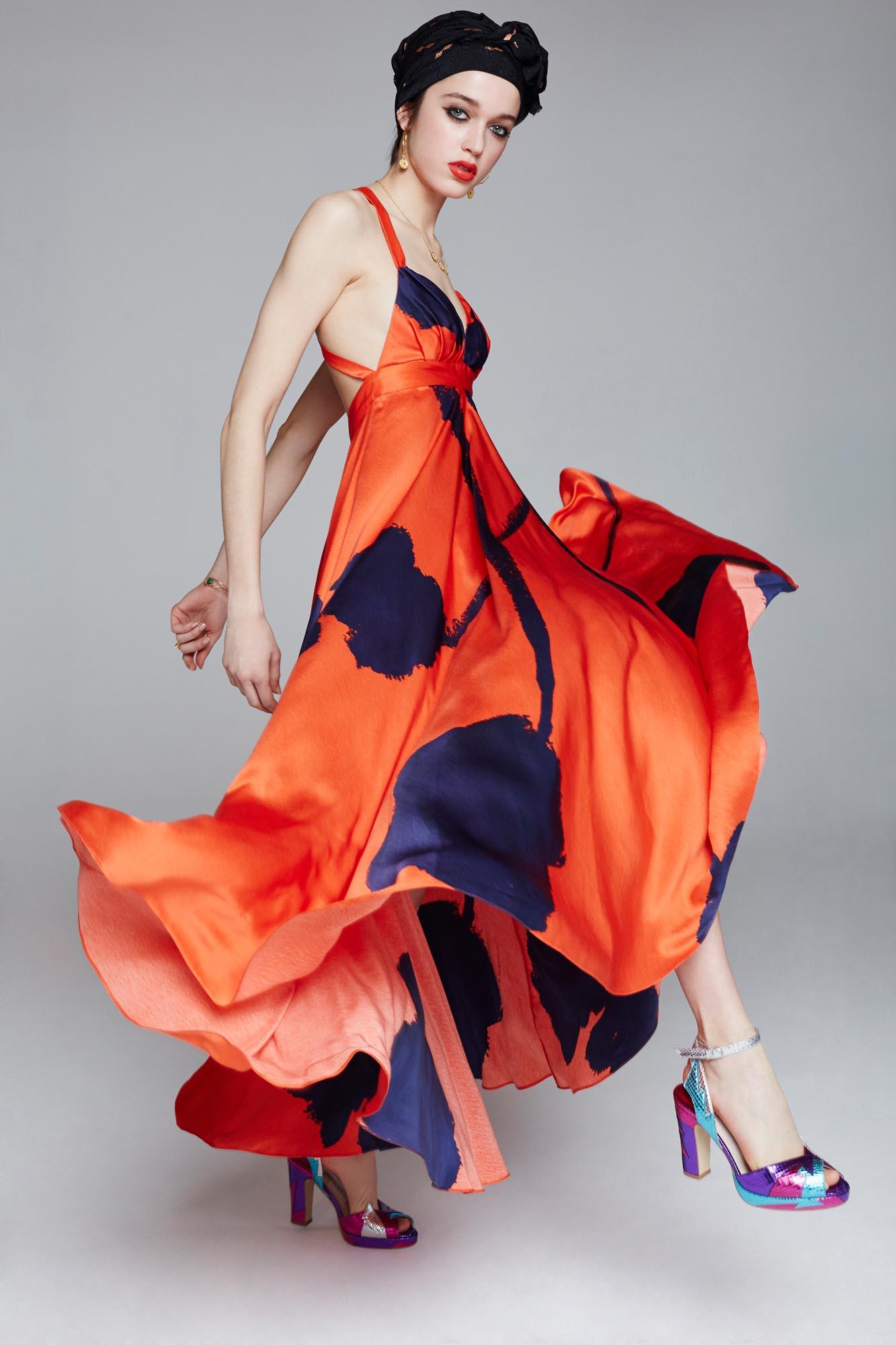 Silk designer red dress by Ellie Lines