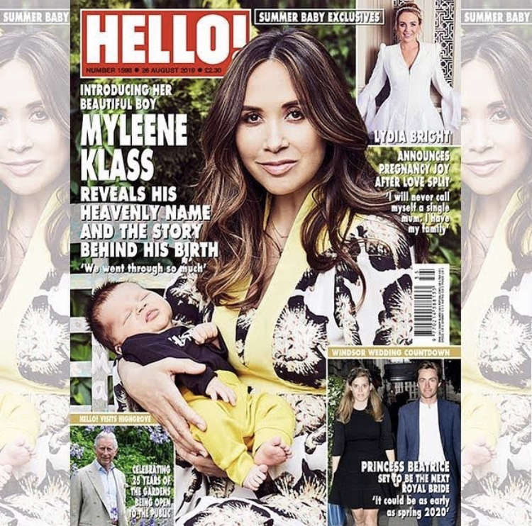 Cover girl Myleene Klass welcomes Apollo to the world wearing the Ellie dress