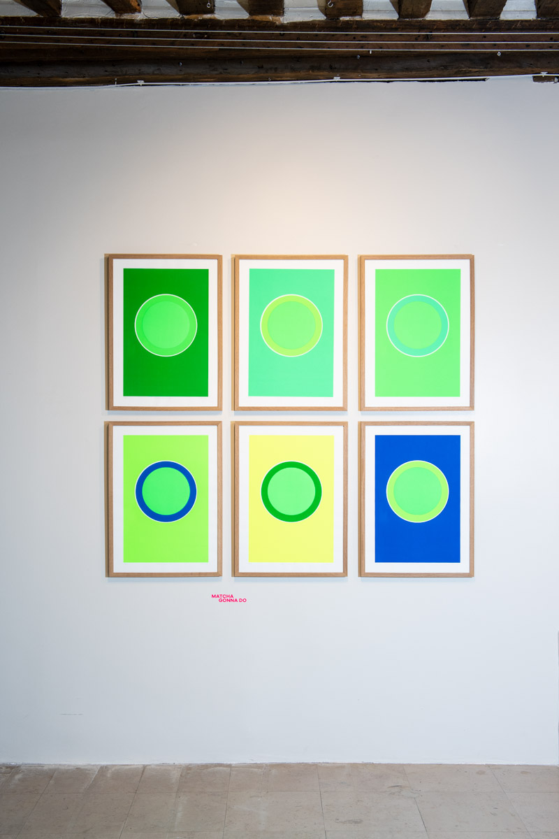 MATCHAGONNA DO - Series of 6 different screenprints – 27 limited signed copies total – about the ritual of Japanese tea ceremony. The green circle in the middle of each print is the only color unchanged. All the other greens blues and yellows around create a visual mix to the viewer's eye