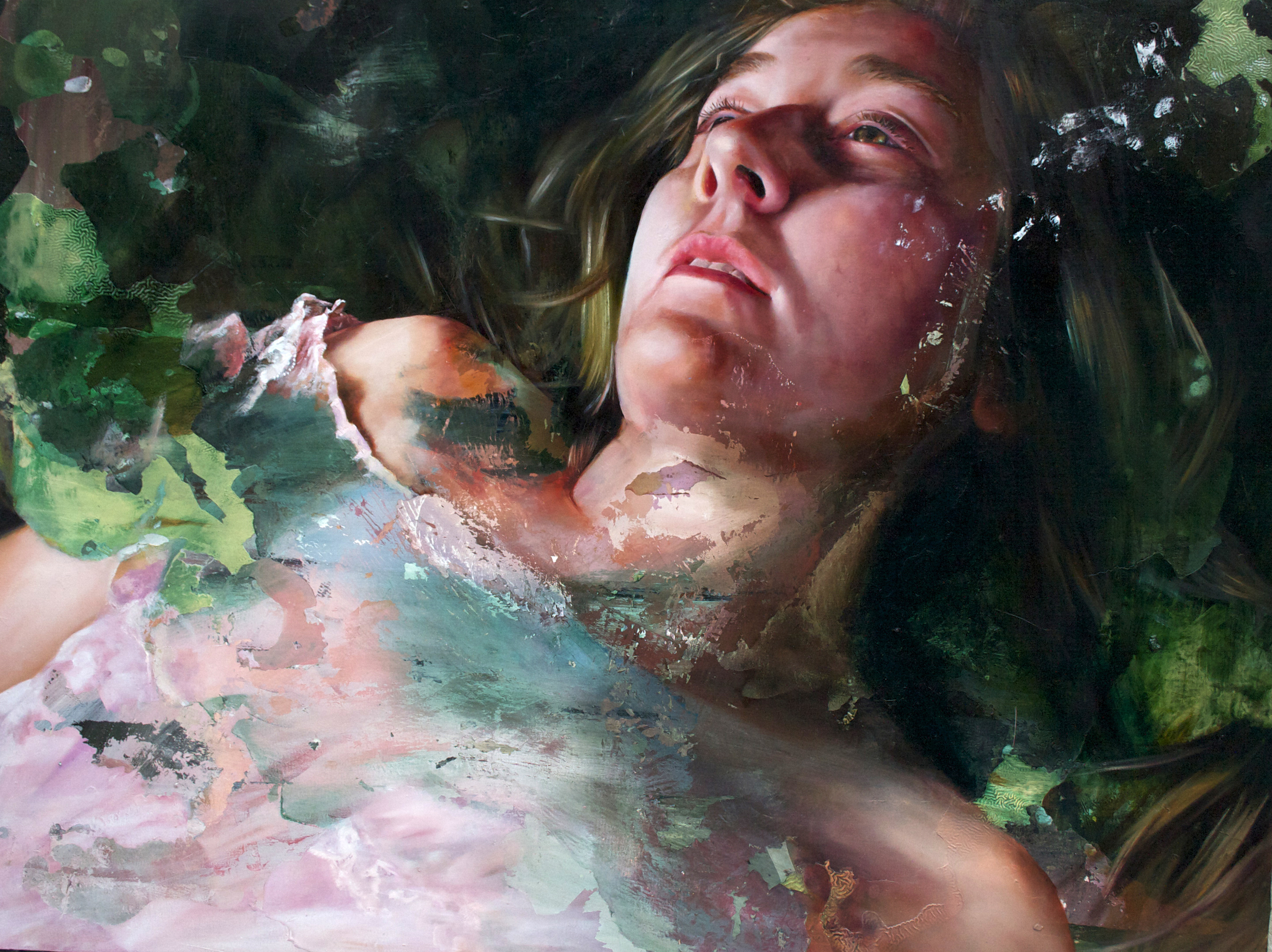"""you weren't haunted those two days, you were filled with light.  oil on canvas. 36 x 48"""". 2013."""