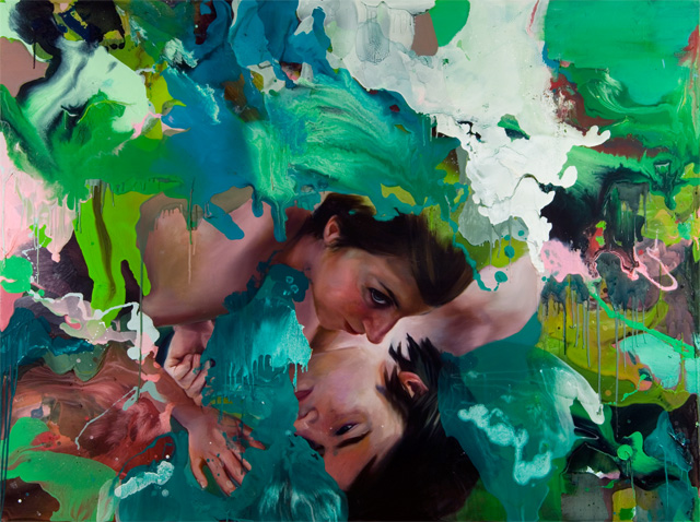 "in this moment.     oil and galkyd resin on canvas over panel. 67 x 90"". 2007"