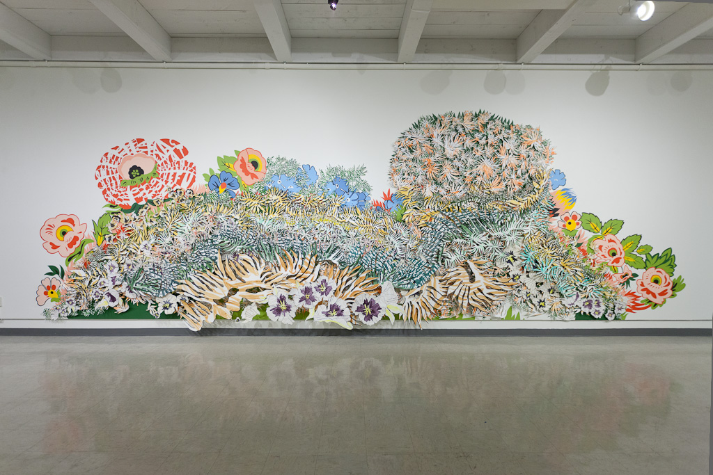 Garden Plot,   2013 ,   Gouache, acrylic, and pencil on cut paper and acrylic on wall,   28' x 10' x 1.5'    Site-specific installation at the Roswell Museum and Art Center, Roswell, NM