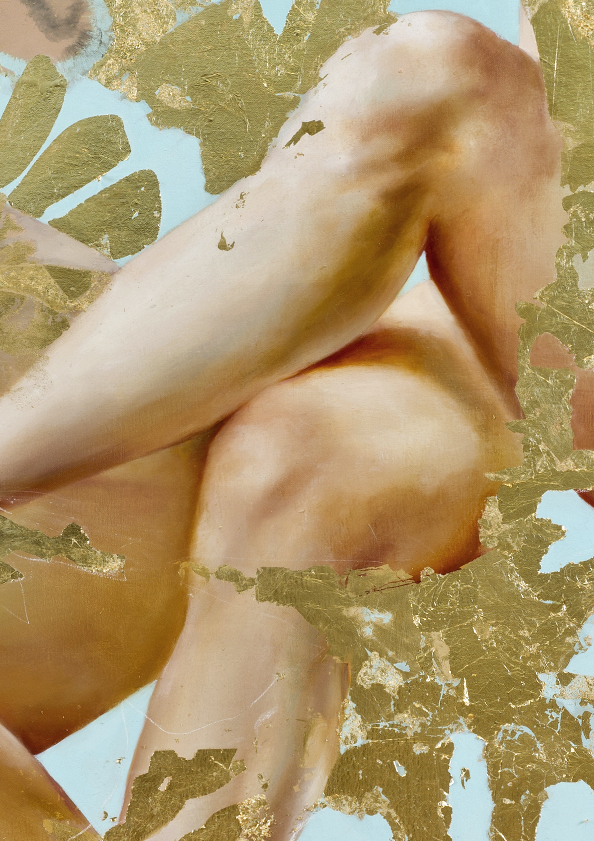 """Carried by voices, detail. Oil, 23kt gold leaf and galkyd on canvas, 66"""" x90"""", 2014"""