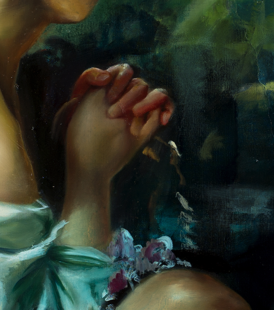 "Though they crowded between, and usurped the kiss of my mouth, their breath was your gift, their beauty, your life. (detail) Oil and synthetic resin on linen, 72"" x 84"", 2014"