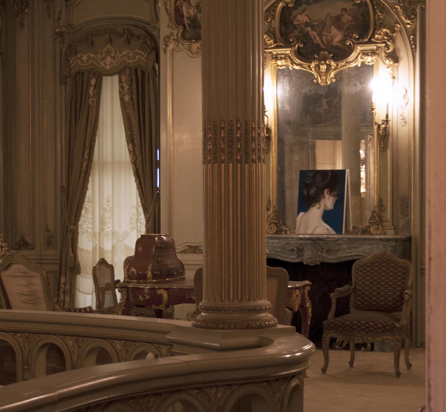 """The rhythms of stars  on view in a site-specific painting exhibition entitled """"Lost in the Light""""at the Vanderbilt Mansion in Hyde Park, NY."""