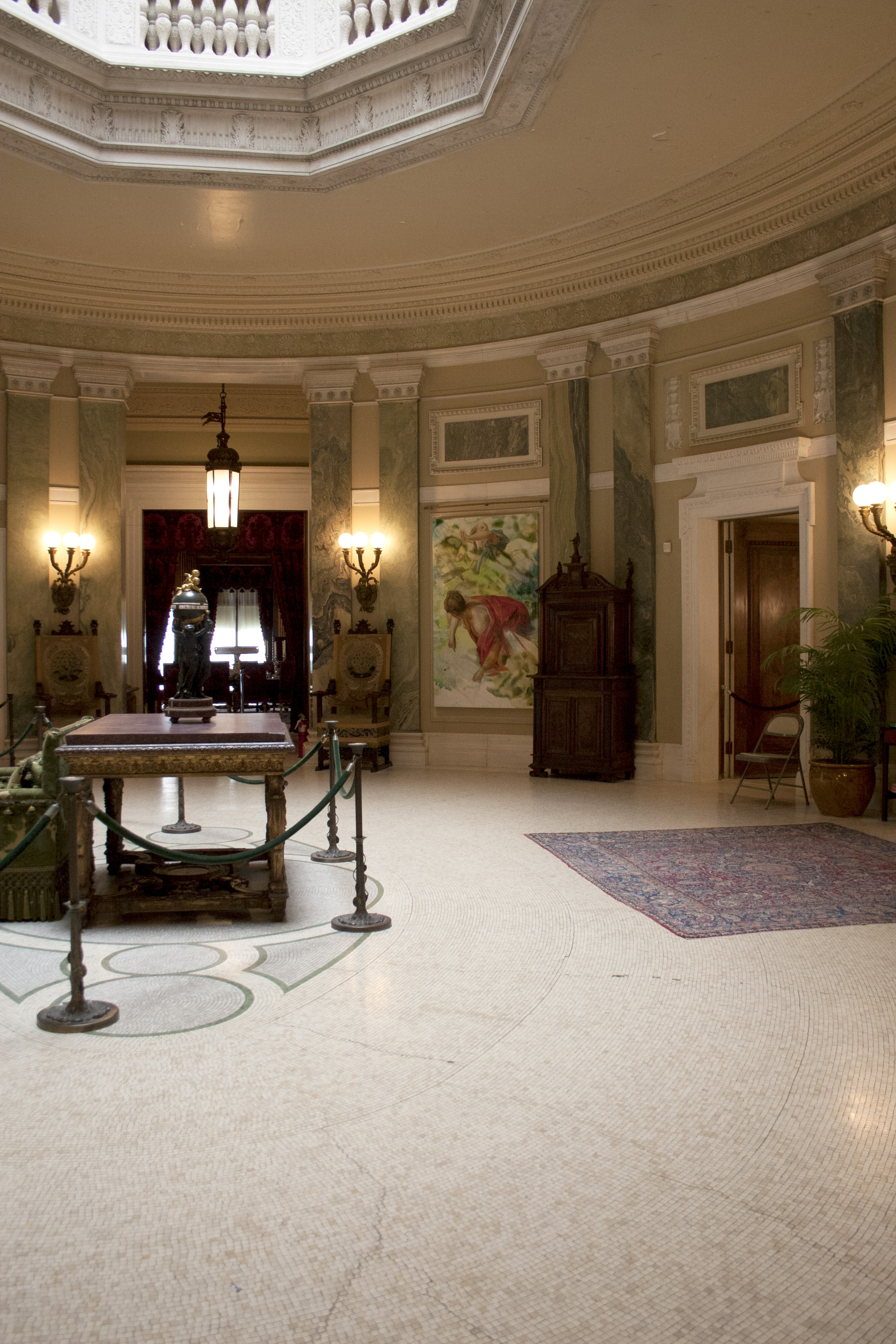 """Installation of """"Lost in the Light"""" a site-specific exhibition of paintings at Vanderbilt Mansion, Hyde Park, NY"""
