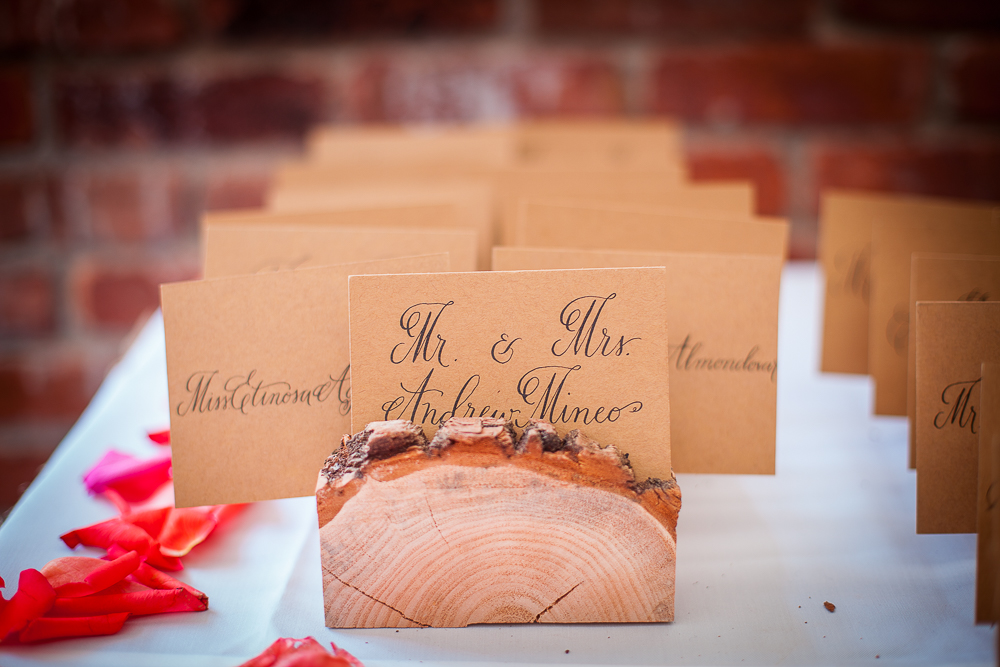 Calligraphy Place cards on natural wood stands