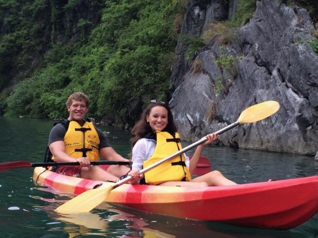 Kayaking through Halong Bay!