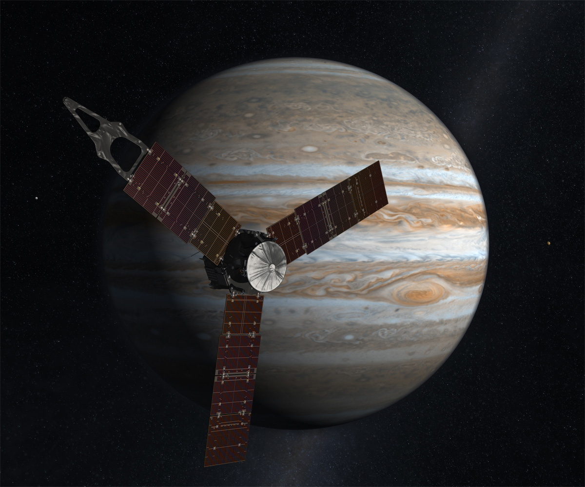Artist rendering of NASA's Juno mission with Jupiter in the background.
