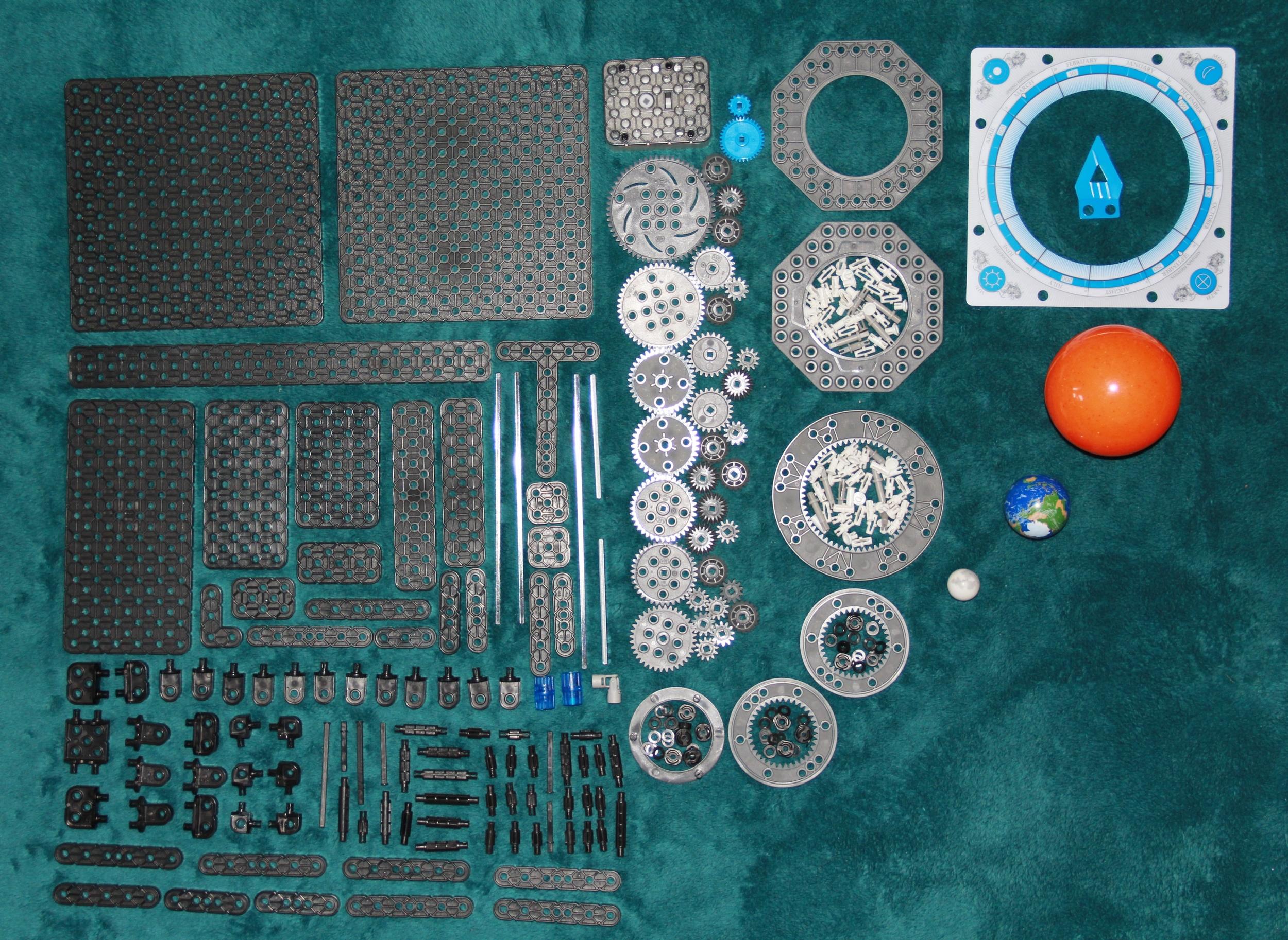 All of the pieces in the VEX Robotics Orbit Kit