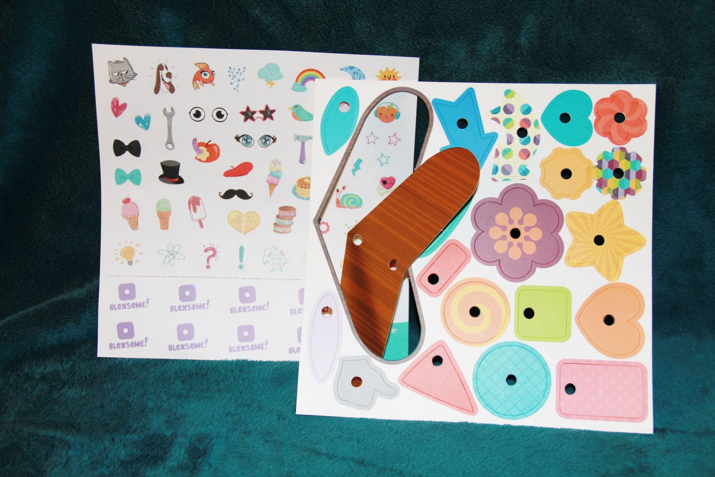 GoldieBlox stickers and craftstruction pieces