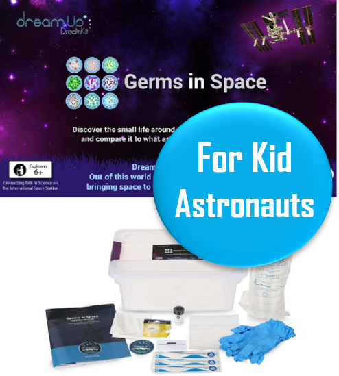 """Space Science Kit - Ages 6+   DreamKits """"Germs in Space"""" is a great way to bring space-based research into your home or classroom! Compare the science experiment that you do here on Earth to the SAME experiment done in space! How cool is that?"""