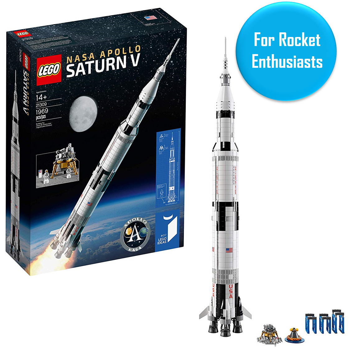 """Saturn V Lego Kit - Ages 14+   For die-hard rocket and/or Apollo enthusiasts. This meter-tall Saturn V is awesome, sells out frequently on Amazon, and as one reviewer stated """"Is the best LEGO kit EVER."""" Oh, and there's exactly 1,969 LEGO pieces ;)"""