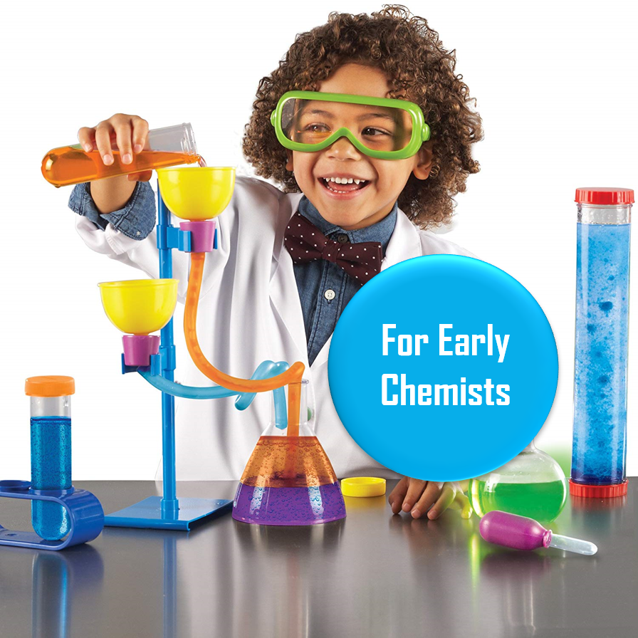 Primary Science Lab Set - Ages 3+   This lab kit is a great beginner science kit for the kid who loves experiments. Mix food coloring and water and see how it swirls together, or Alka Seltzer and water to watch water bubble, or olive oil and water to see what floats on top.