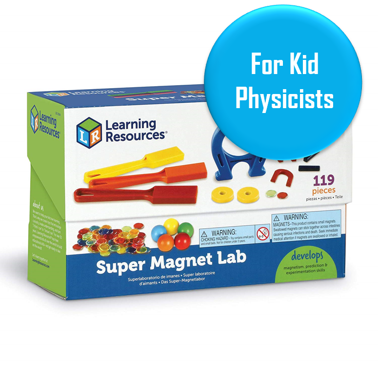 "Magnet Lab - Ages 5+   A great little beginner magnet set with 119 pieces. Promising review: ""got these for my Grand daughter who was 5 at the time, she is 6 and 1/2 now and still loves them. We use them with science books and to do experiments. I also go a set of floating magnet rings. it is really easy for a child to understand how Maglev trains, electric motors and other things are moved by magnets when you have great tools like these to teach with."""