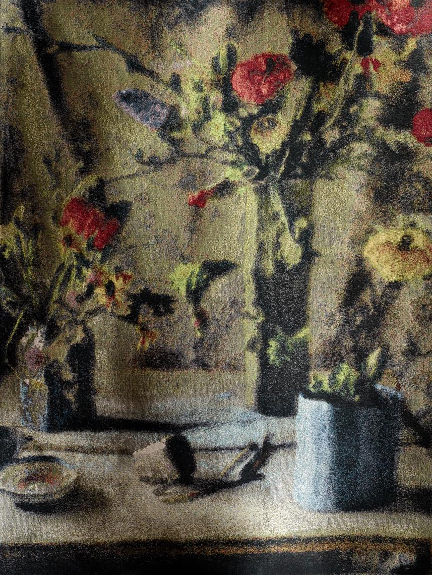 CEZANNE'S SHADOW #1:Draping fabrics and a spray of red blossoms are a nod to Cezanne's composition in 'Vase with Tulips', the work was the early inspiration for the fabric collection.