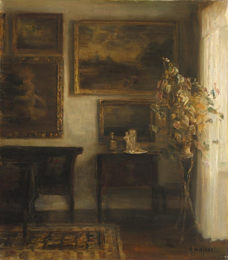 """Home....... """"interior with a vase of flowers"""" by Carl Vilhelm Holsoe"""