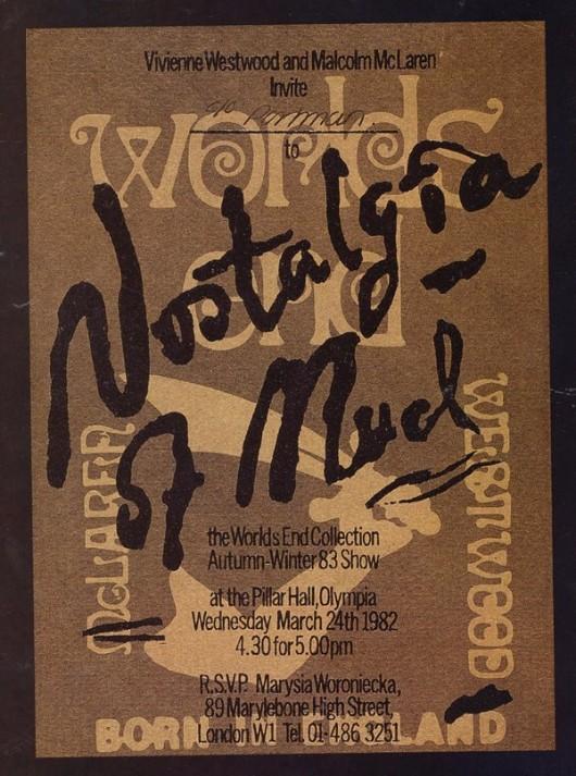"""The invitation to the """"Nostalgia de la Boue"""" show, 1982."""