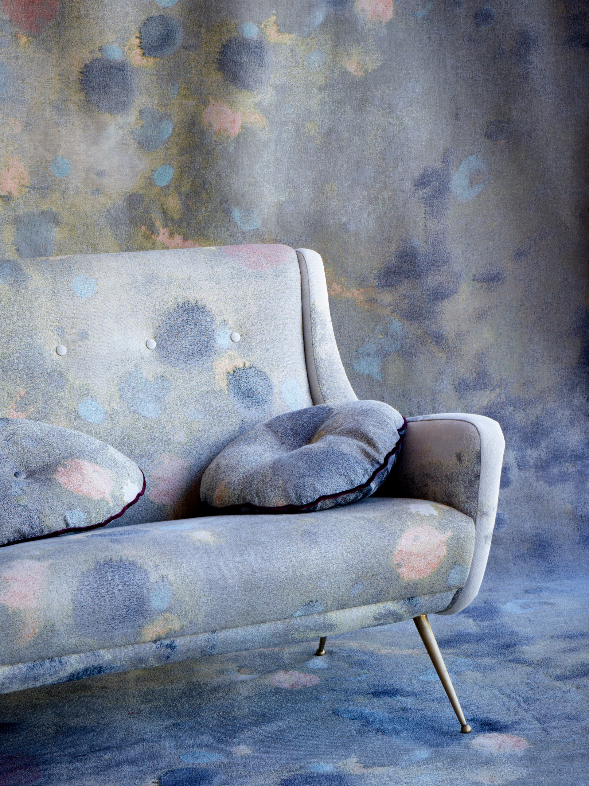 """Splotch"" jacquard on lounge and backdrop."