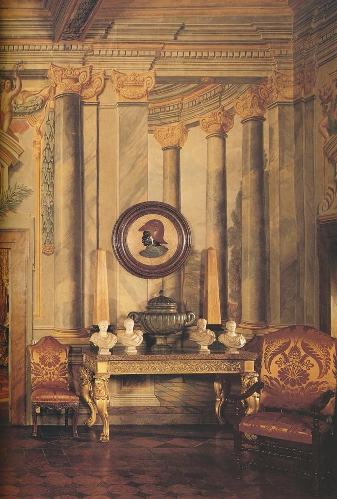 Restored frescoes from the 17th century grace the walls of this Renzo Mongiardino decorated space.