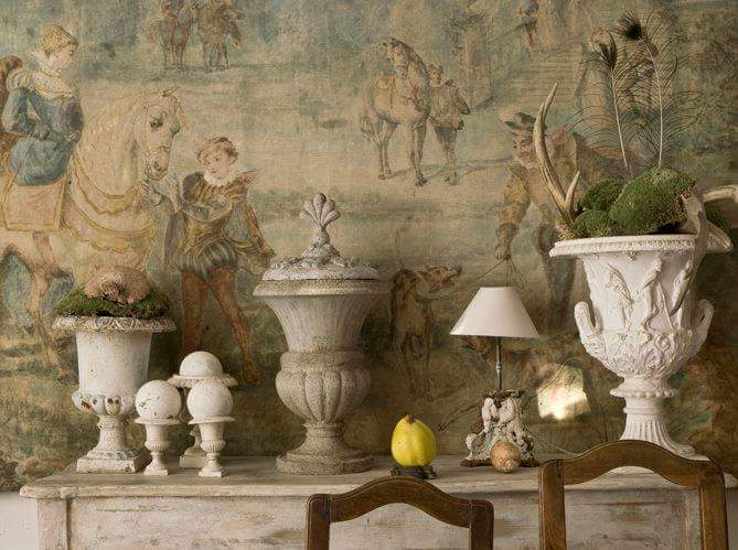A mantel filled with urns via the  MTS Tumblr .