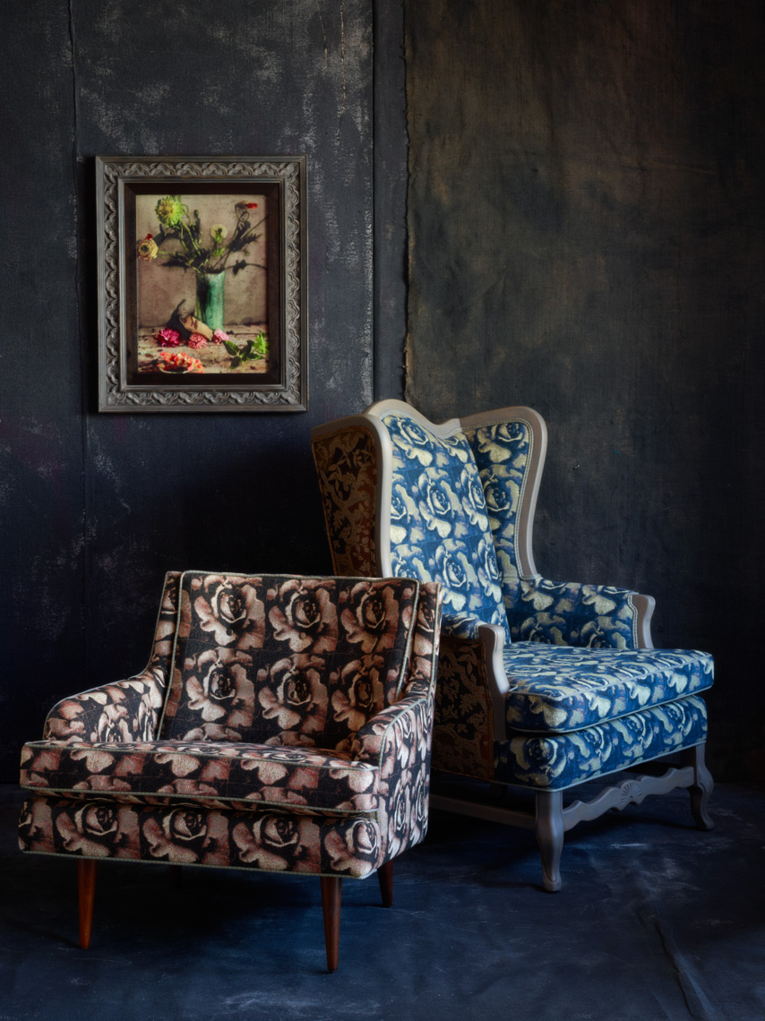 "Chairs upholstered in ""Melting"" jacquards."