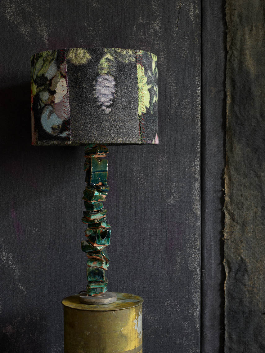 "Ceramic ""Quarry"" lamp, in emerald by MTS and Dove Drury Hornbuckle."