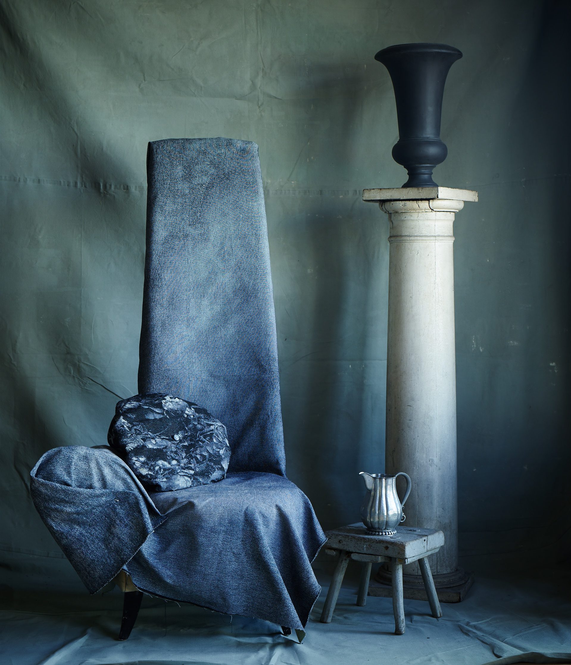 """A chair pinned with a """"Watercolor"""" jacquard."""