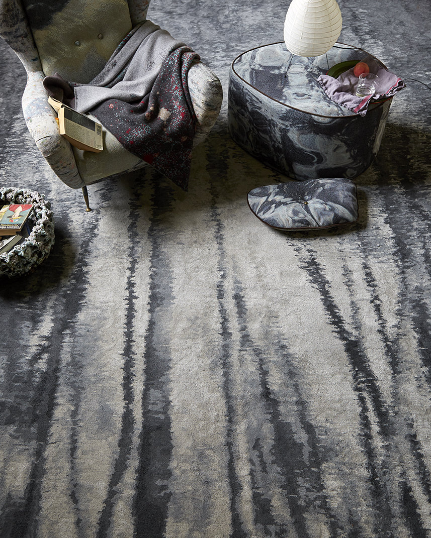 "Echoes of Autumn   The Echo Rug in ""Charcoal"" colorway for Perennials. The design is derived from a photograph I took of leaf stripped tree trunks, reflected in a rippling pond, in upstate New York"