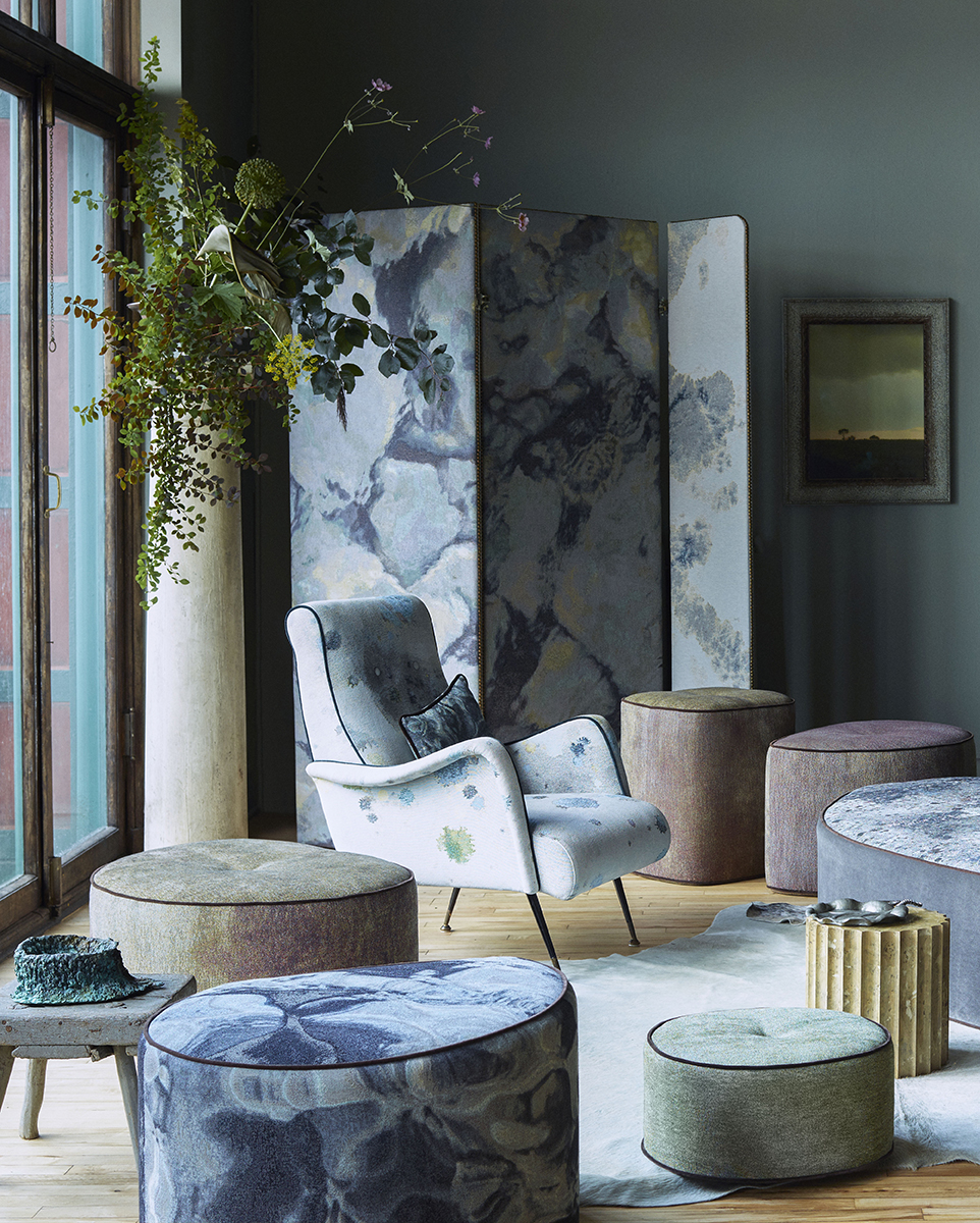 TrIaling the early samples of the design in the MTS studio. Shown here with an MTS screen in Ripple Rainbow and vintage Italian 50's chair in Splat Lilac. Flowers by Livia Cetti. Bronze bowl by Dove Drury Hornbuckle. Landscape photograph by Martyn Thompson.