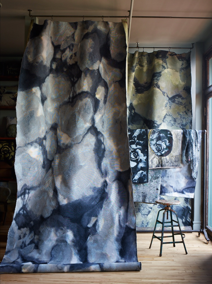 Rockpool Grey and Ripple Sage jacquard hanging in the studio.